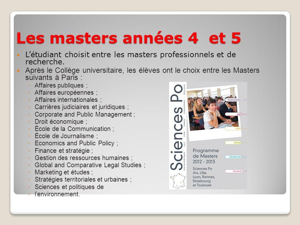 Les masters années 4 et 5 L'étudiant choisit entre les masters professionnels et de recherche.