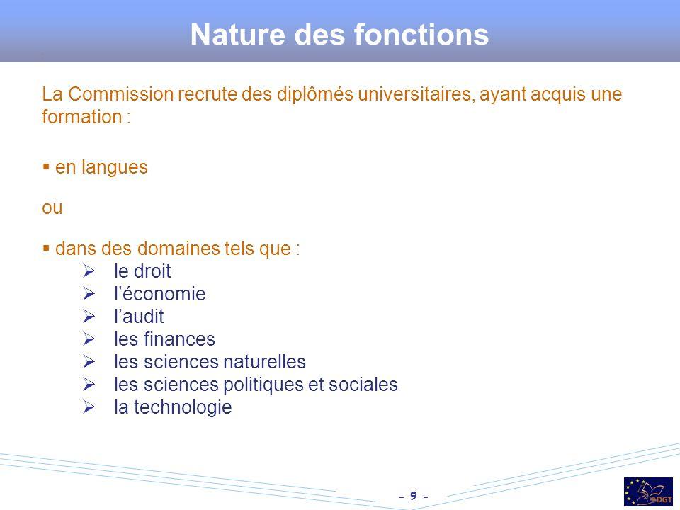 Nature des fonctions : La Commission recrute des diplômés universitaires, ayant acquis une formation :