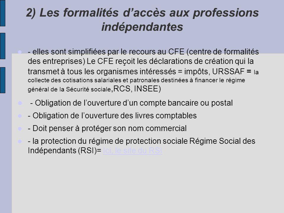 2) Les formalités d'accès aux professions indépendantes