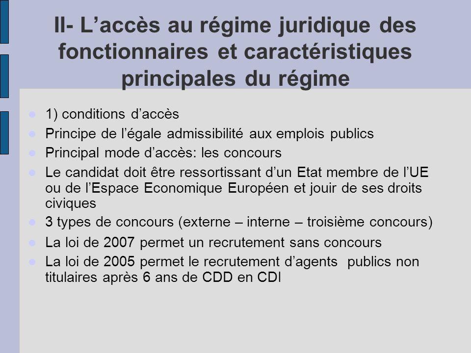 II- L'accès au régime juridique des fonctionnaires et caractéristiques principales du régime