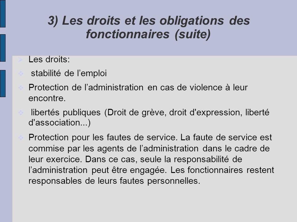 3) Les droits et les obligations des fonctionnaires (suite)