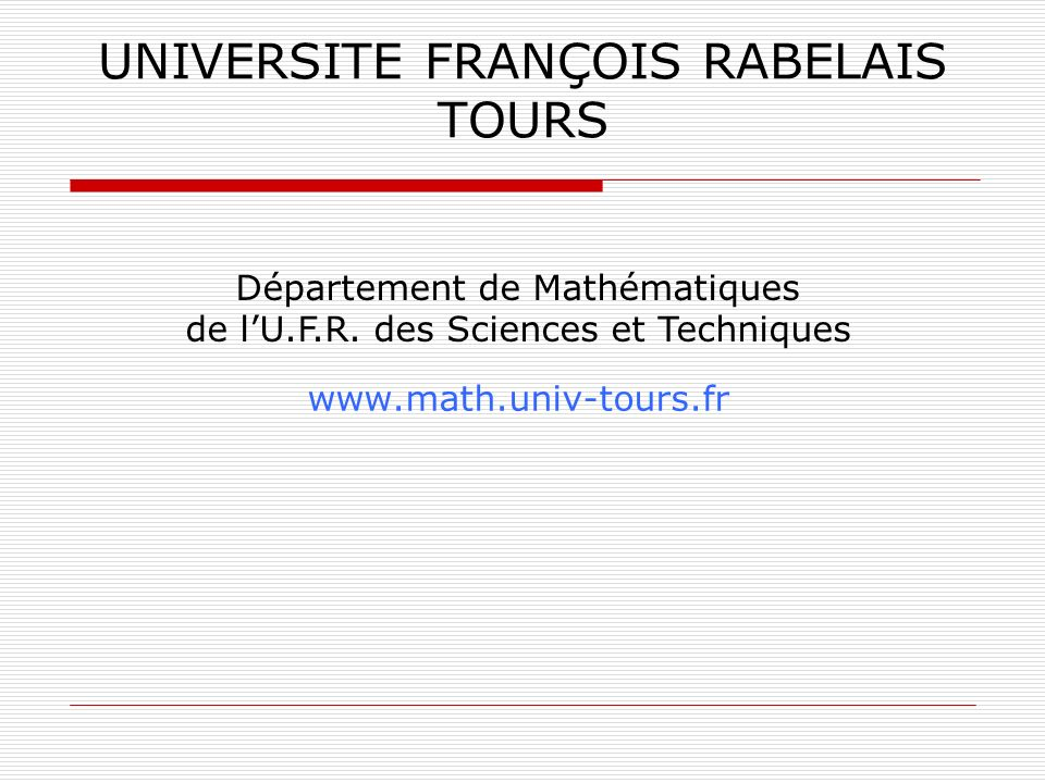UNIVERSITE FRANÇOIS RABELAIS TOURS