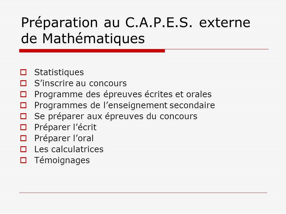Préparation au C.A.P.E.S. externe de Mathématiques