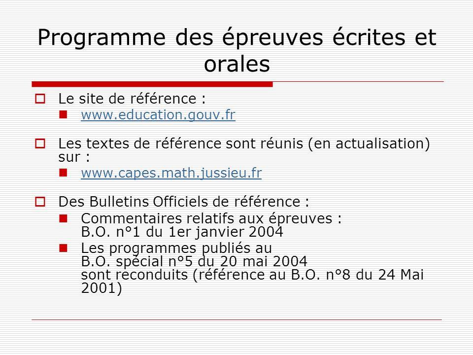 Programme des épreuves écrites et orales