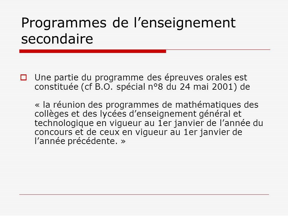 Programmes de l'enseignement secondaire