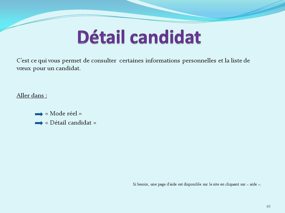 30/03/2017 Détail candidat. C'est ce qui vous permet de consulter certaines informations personnelles et la liste de vœux pour un candidat.