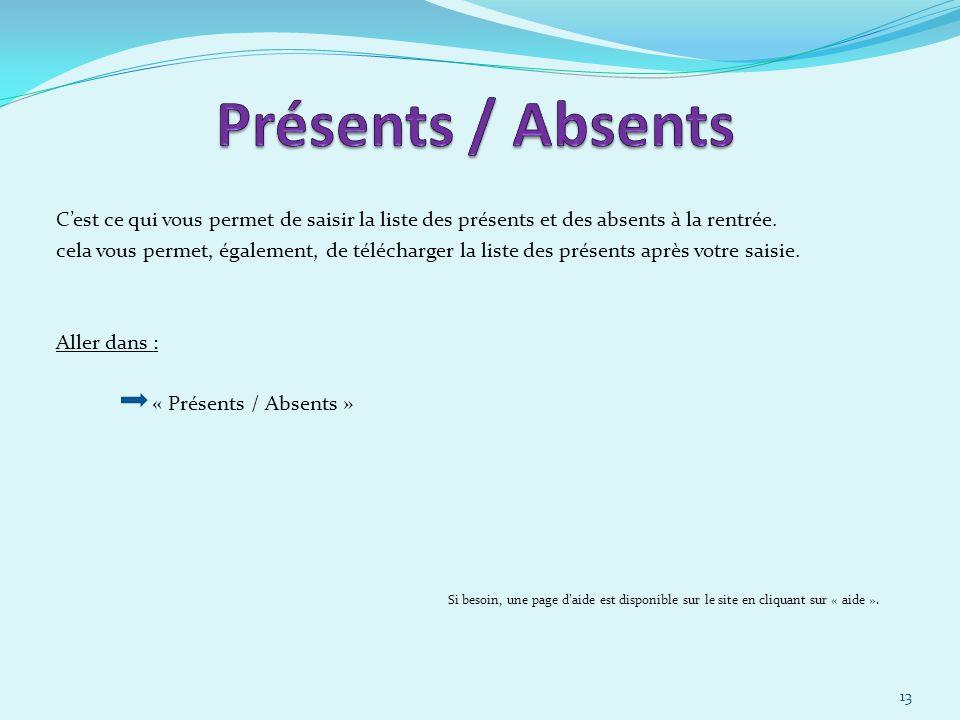 30/03/2017 Présents / Absents. C'est ce qui vous permet de saisir la liste des présents et des absents à la rentrée.
