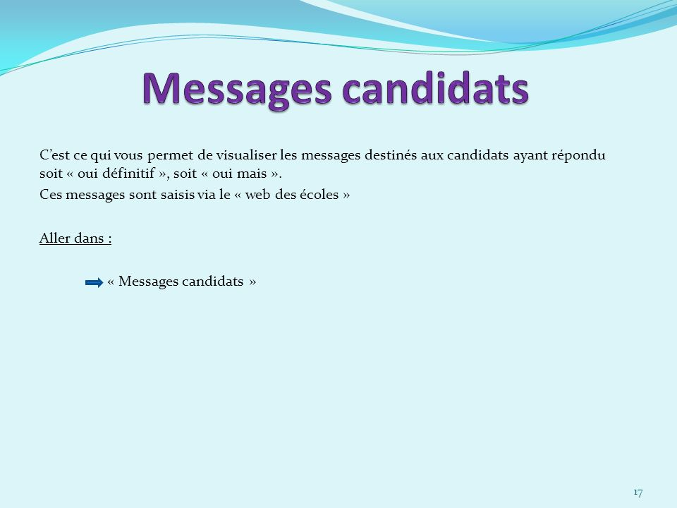 30/03/2017 Messages candidats.