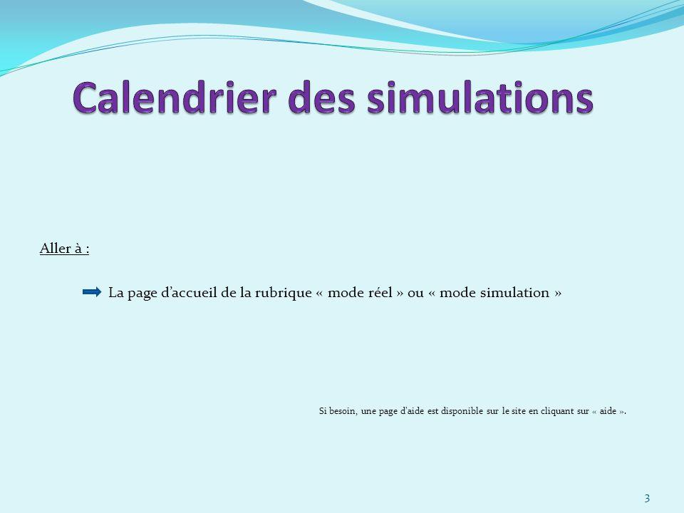 Calendrier des simulations