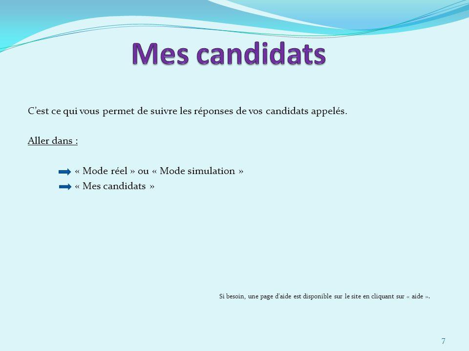 30/03/2017 Mes candidats. C'est ce qui vous permet de suivre les réponses de vos candidats appelés.