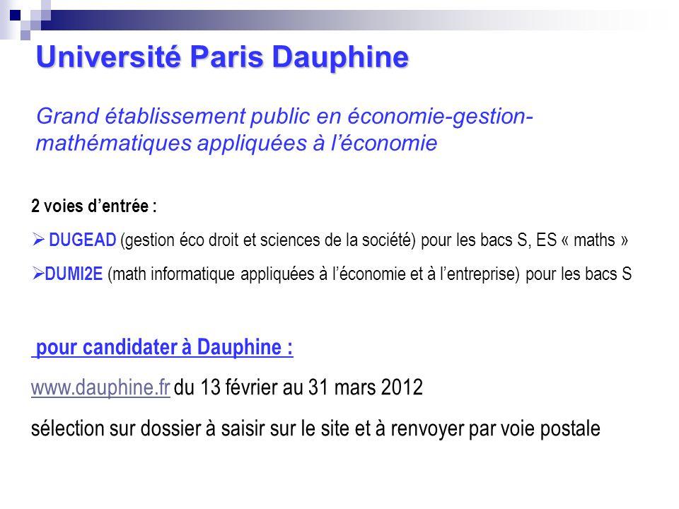 Université Paris Dauphine Grand établissement public en économie-gestion-mathématiques appliquées à l'économie