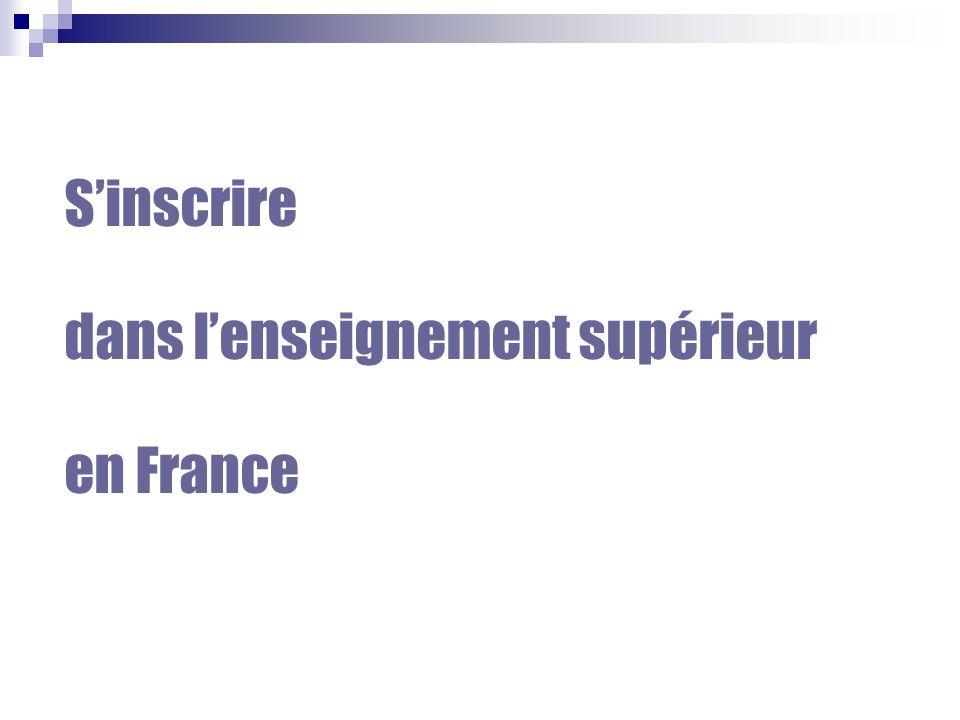 S'inscrire dans l'enseignement supérieur en France