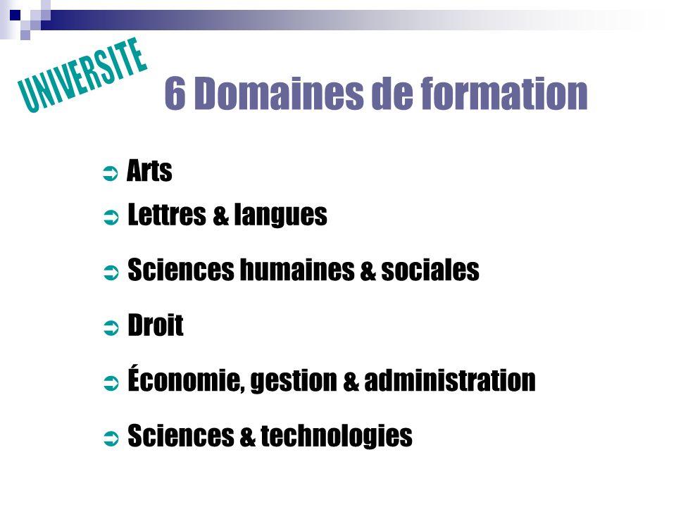 6 Domaines de formation UNIVERSITE Arts Lettres & langues