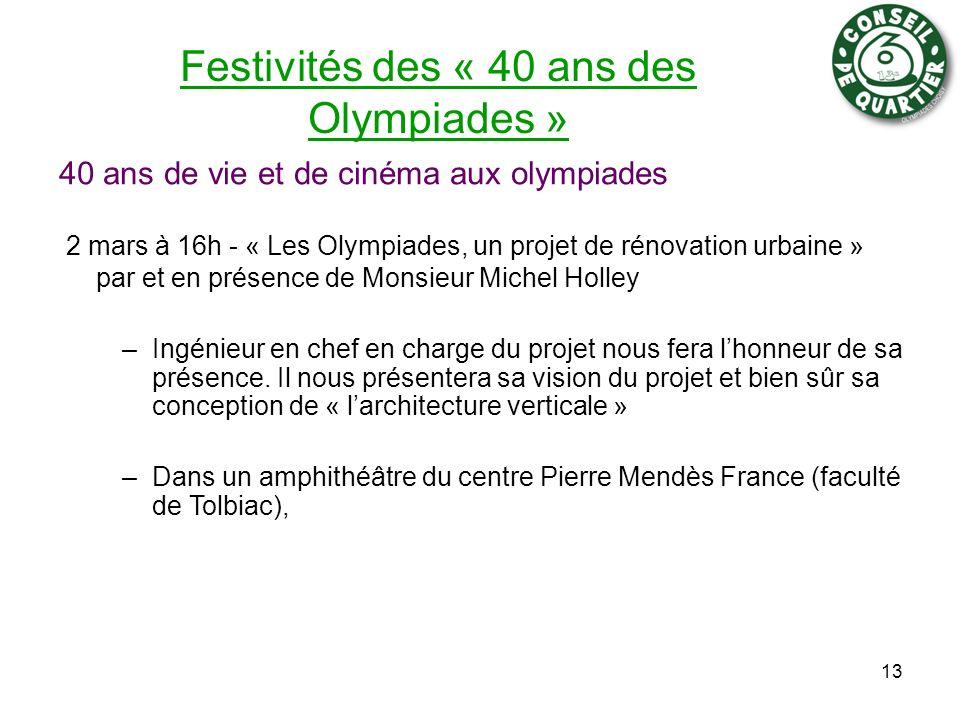 Festivités des « 40 ans des Olympiades »