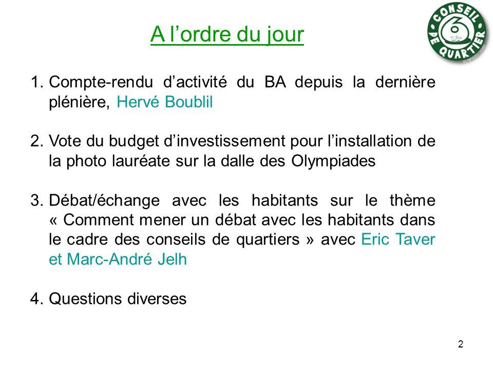 A l'ordre du jour Compte-rendu d'activité du BA depuis la dernière plénière, Hervé Boublil.