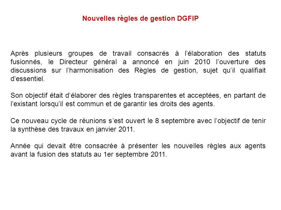 Nouvelles règles de gestion DGFIP
