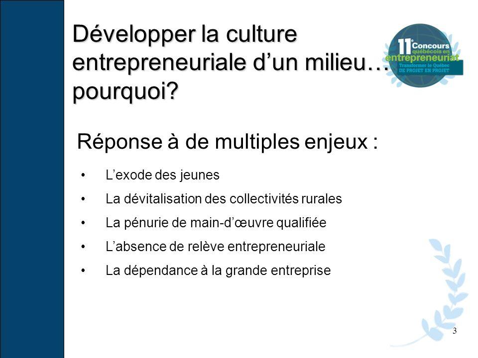 Développer la culture entrepreneuriale d'un milieu… pourquoi