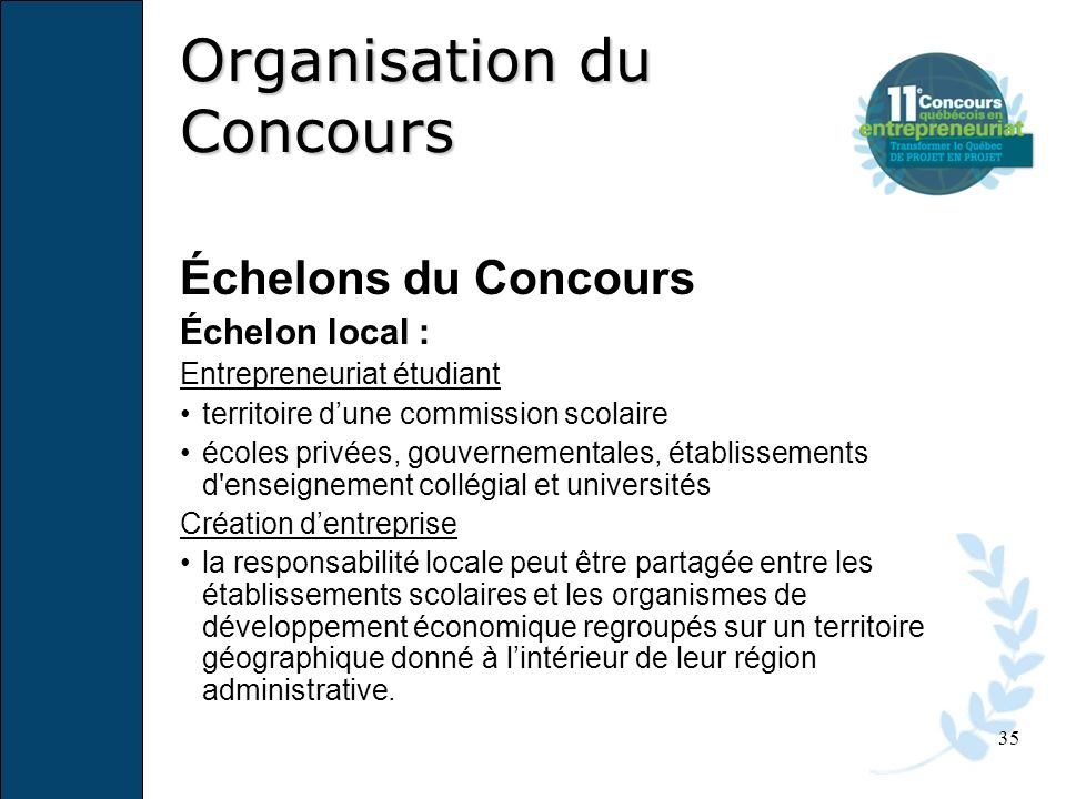 Organisation du Concours