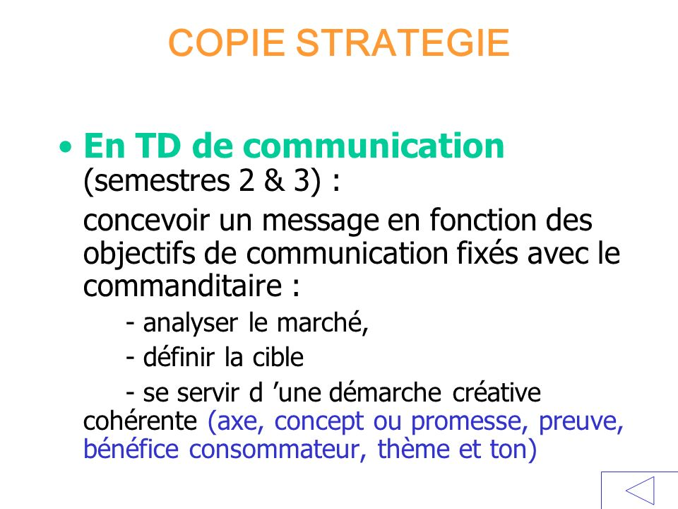 COPIE STRATEGIE En TD de communication (semestres 2 & 3) :
