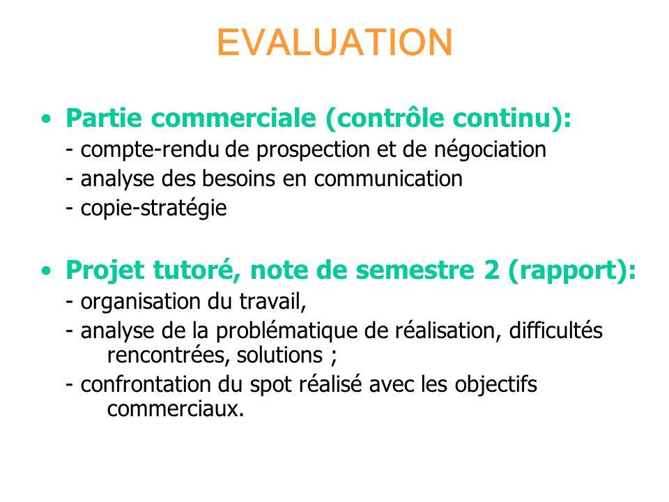 EVALUATION Partie commerciale (contrôle continu):