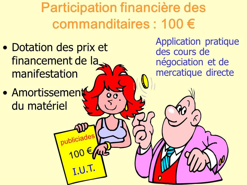 Participation financière des commanditaires : 100 €