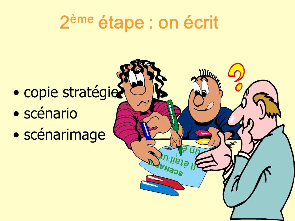 2ème étape : on écrit copie stratégie scénario scénarimage
