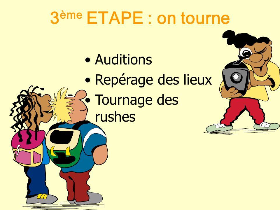 3ème ETAPE : on tourne Auditions Repérage des lieux