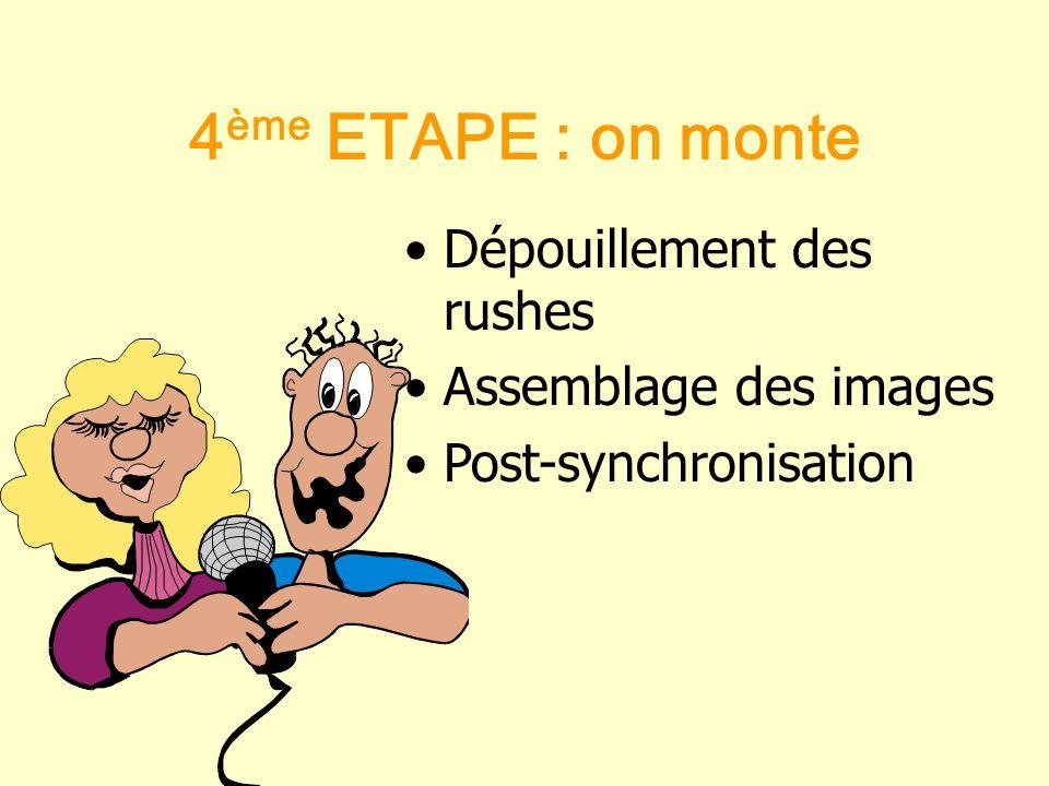 4ème ETAPE : on monte Dépouillement des rushes Assemblage des images