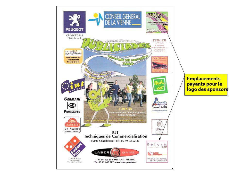 Emplacements payants pour le logo des sponsors