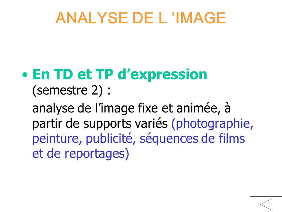 ANALYSE DE L 'IMAGE En TD et TP d'expression (semestre 2) :