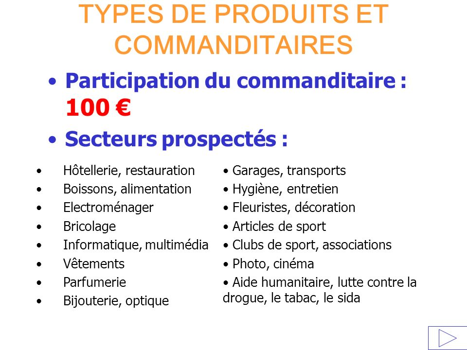 TYPES DE PRODUITS ET COMMANDITAIRES