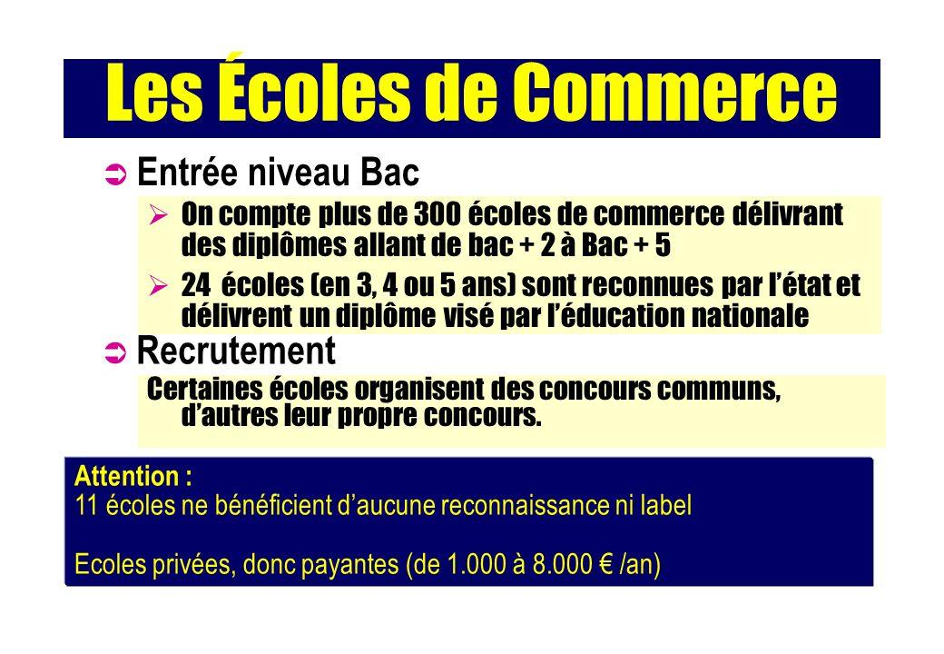 Les Écoles de Commerce Entrée niveau Bac Recrutement