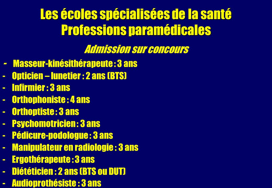 Les écoles spécialisées de la santé Professions paramédicales