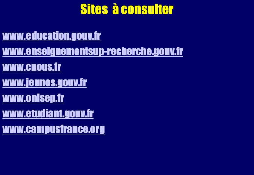 Sites à consulter www.education.gouv.fr