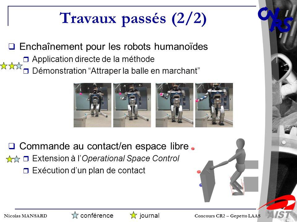 Travaux passés (2/2) Enchaînement pour les robots humanoïdes