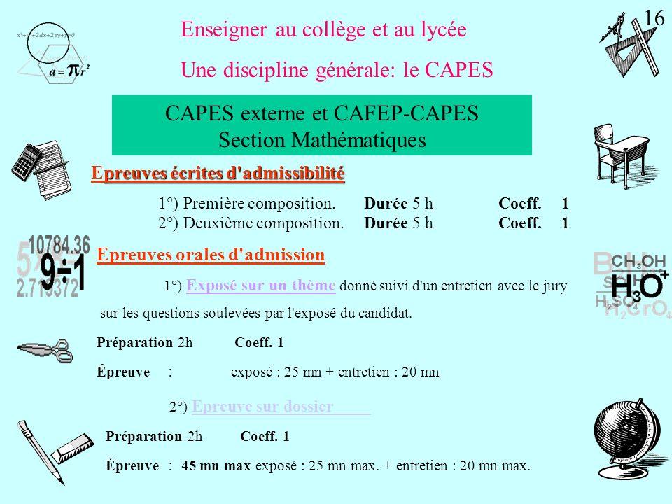 CAPES externe et CAFEP-CAPES Section Mathématiques