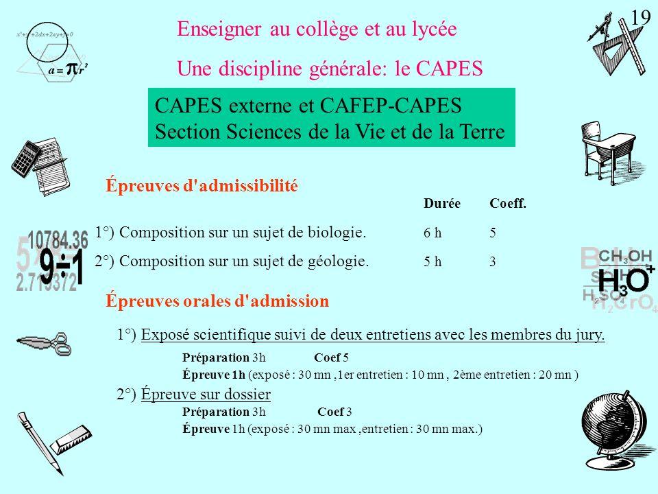 Enseigner au collège et au lycée Une discipline générale: le CAPES