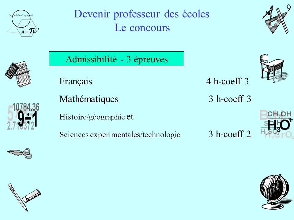 Admissibilité - 3 épreuves