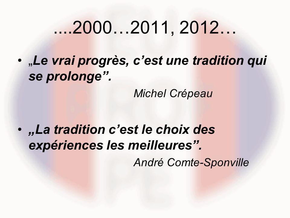 """....2000…2011, 2012… """"Le vrai progrès, c'est une tradition qui se prolonge . Michel Crépeau."""