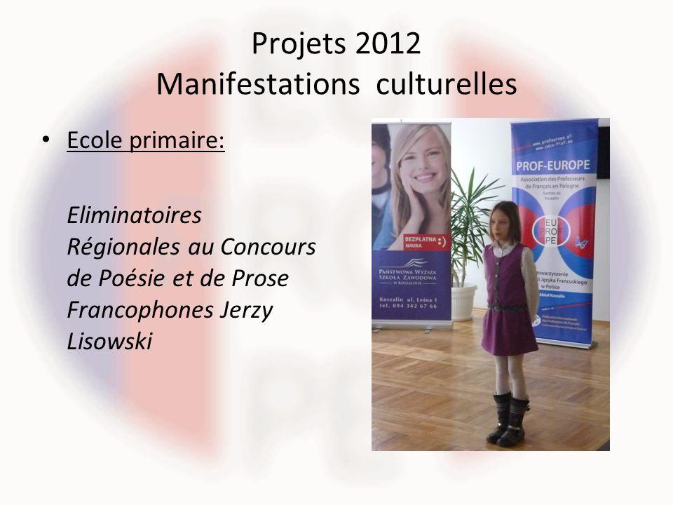 Projets 2012 Manifestations culturelles