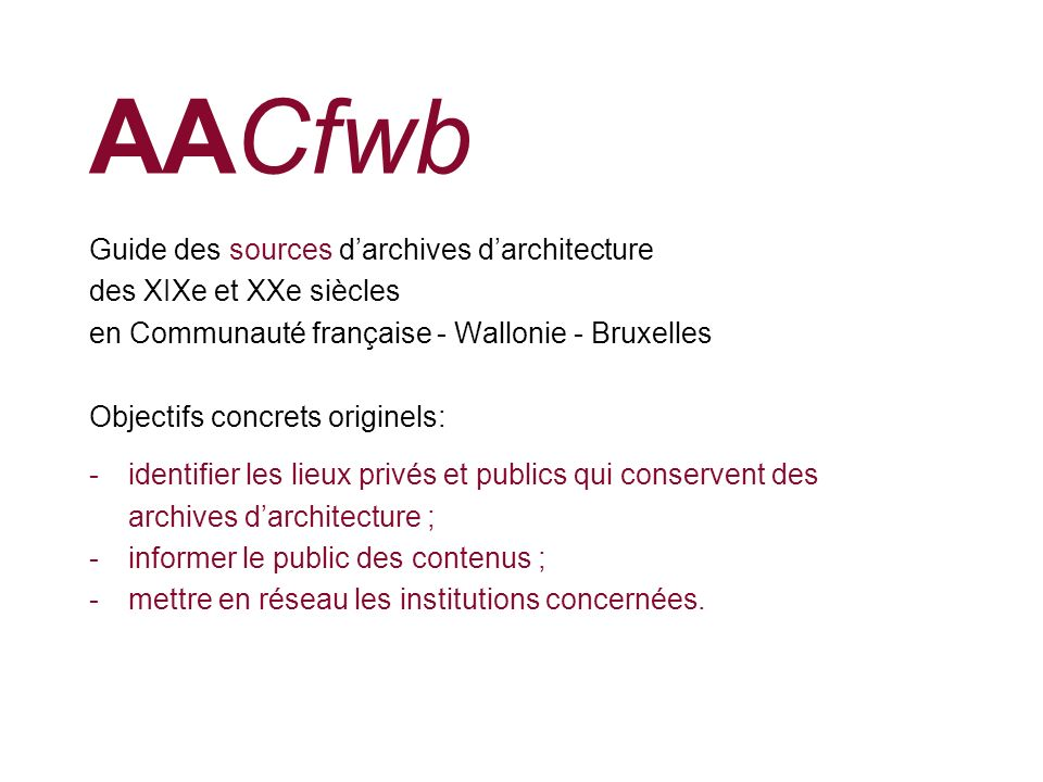 AACfwb Guide des sources d'archives d'architecture