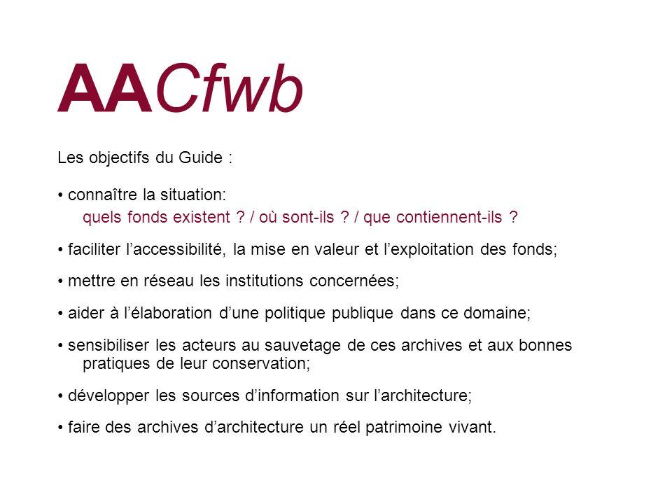 AACfwb Les objectifs du Guide : • connaître la situation: