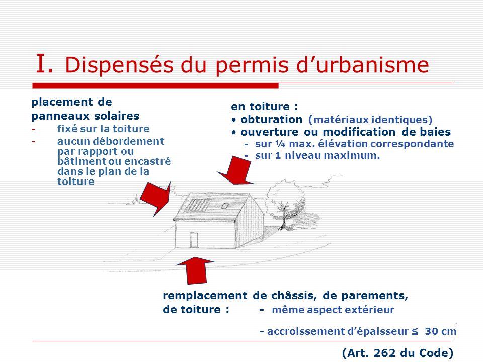 I. Dispensés du permis d'urbanisme