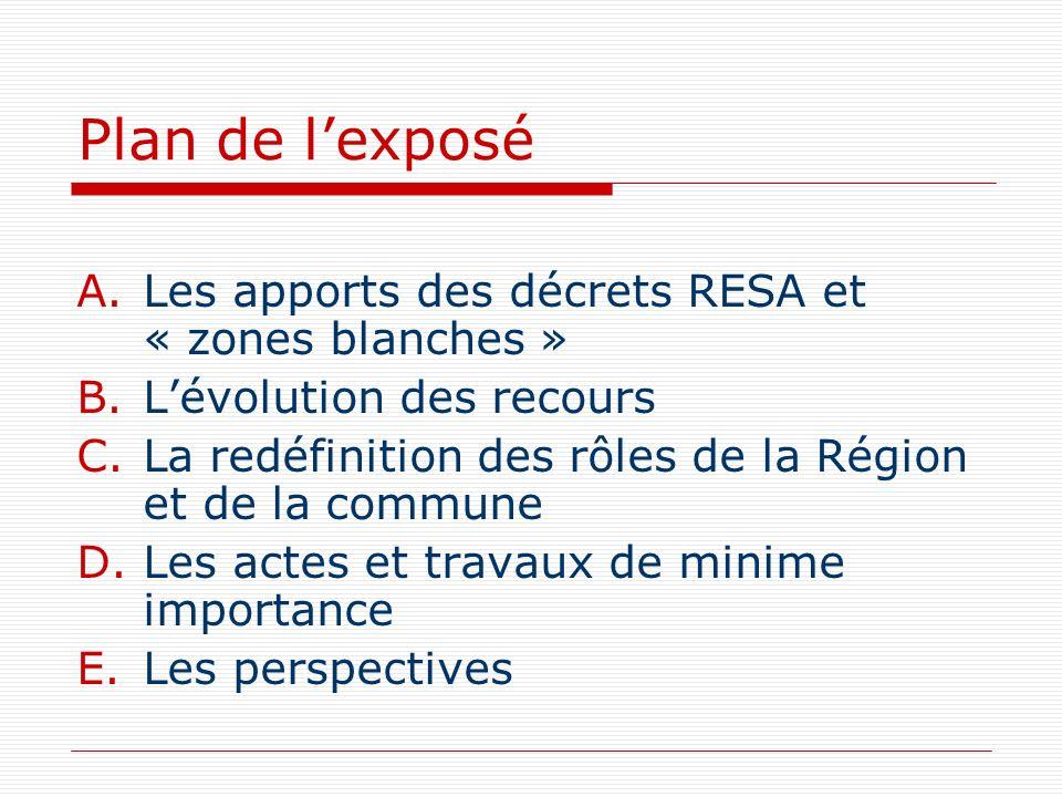 Plan de l'exposé Les apports des décrets RESA et « zones blanches »