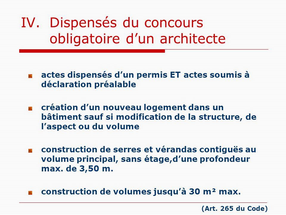 IV. Dispensés du concours obligatoire d'un architecte
