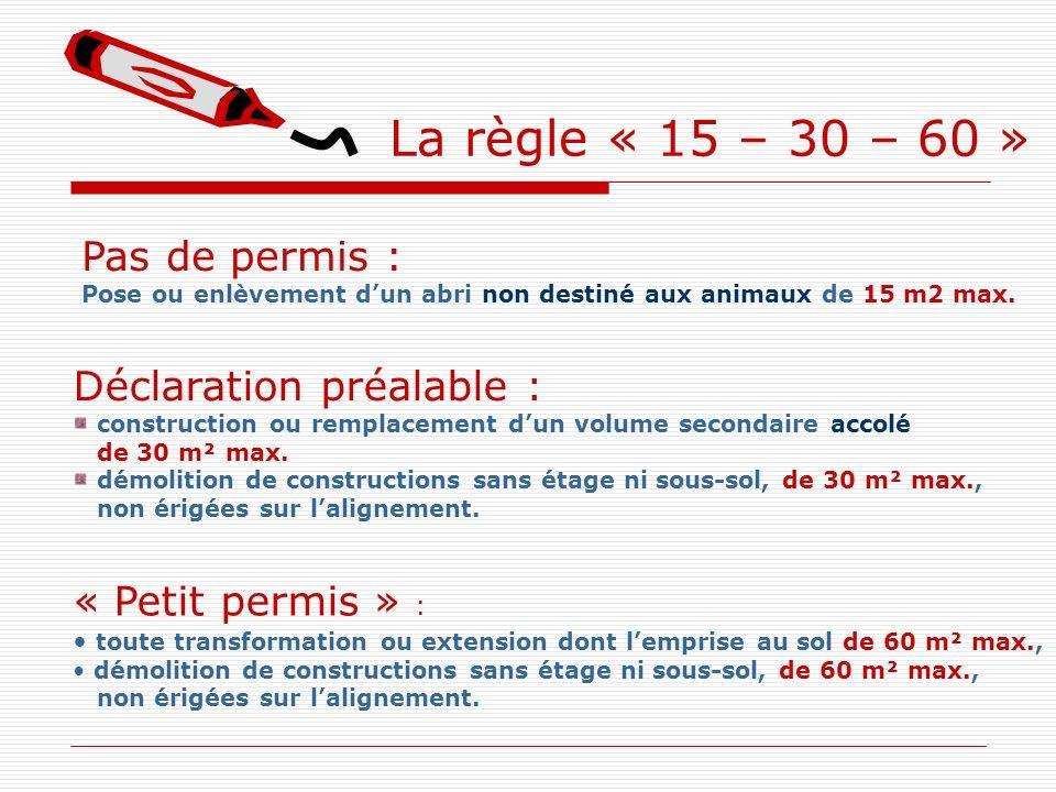 La règle « 15 – 30 – 60 » Pas de permis : Déclaration préalable :