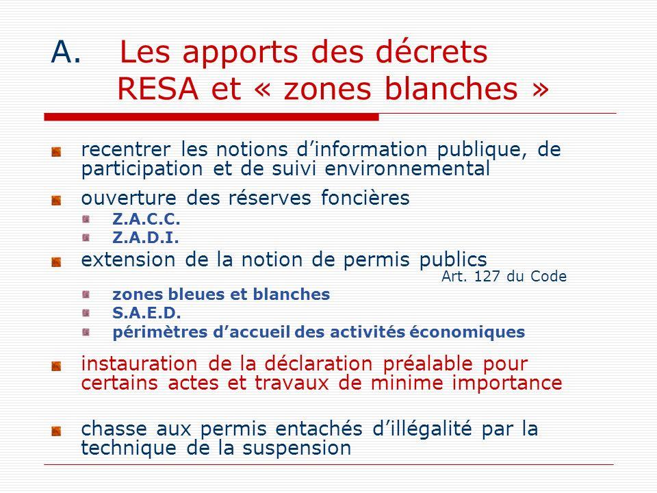 Les apports des décrets RESA et « zones blanches »
