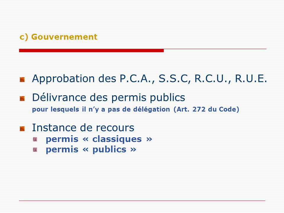 Approbation des P.C.A., S.S.C, R.C.U., R.U.E.