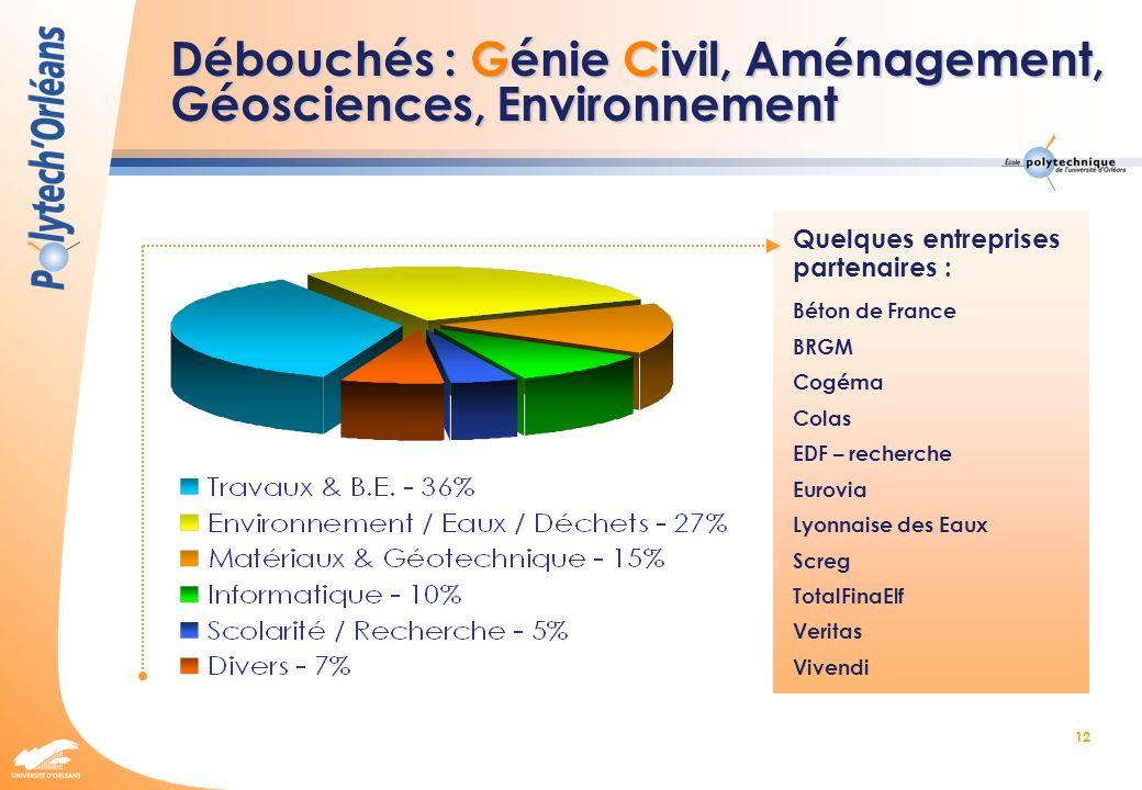 Débouchés : Génie Civil, Aménagement, Géosciences, Environnement