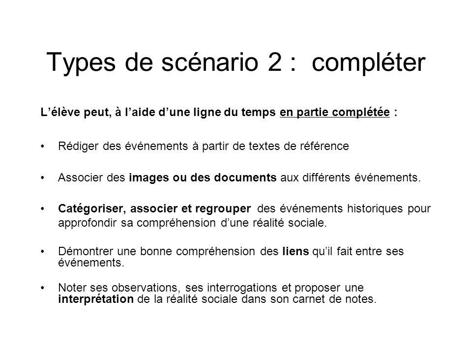 Types de scénario 2 : compléter